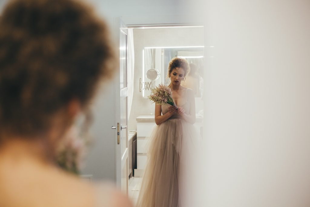 the bride getting ready before the wedding ceremony
